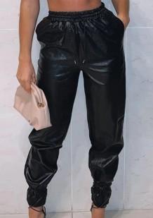 Осенние повседневные черные брюки карго с завязками