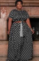 Conjunto de falda larga y top corto negro con lunares de verano de talla grande