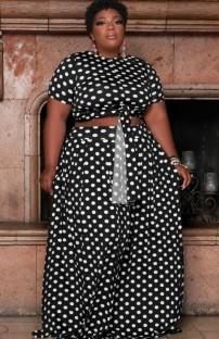 Летний черный укороченный топ больших размеров в горошек и длинная юбка