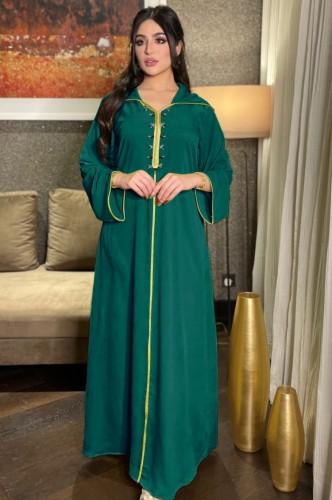 Árabe Dubai Árabe Médio Oriente Turquia Marrocos Vestuário islâmico Kaftan Abaya Vestido muçulmano com capuz