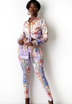 Conjunto de blusa retro con estampado otoñal y pantalón a juego