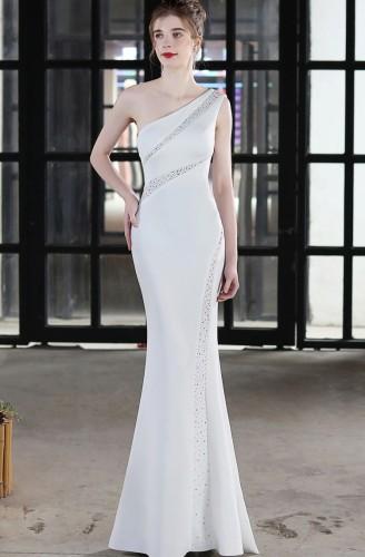 Summer Formal White Beaded One Shoulder Mermaid Evening Dress
