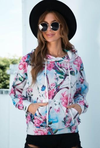 Sweats à capuche floraux d'automne à manches longues avec poches