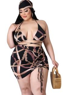 Комплект купальных костюмов с принтом больших размеров из 4 предметов