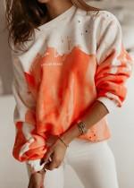 Felpe con stampa autunnale arancione O-Collo Pullover