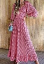 Vestido de verano largo formal de manga abullonada con estampado elegante formal de otoño