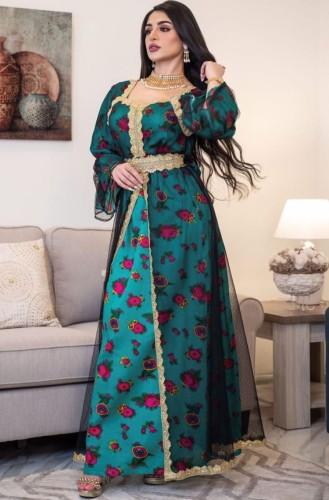 Árabe Dubai Árabe Médio Oriente Turquia Marrocos Vestuário islâmico Floral Kaftan Abaya Vestido muçulmano