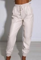 Pantalon cargo décontracté beige à cordons d'automne