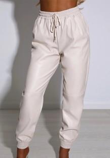 Осенние повседневные бежевые брюки-карго с завязками