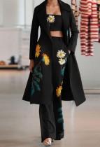 Herbst Elegantes Schwarzes Blumen 3-teiliges Boho-Set