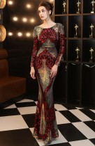 Herbst formales Pailletten Rot O-Ausschnitt Langarm Meerjungfrau Abendkleid