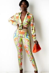 Autumn Print Retro Blouse and Matching Pants Set