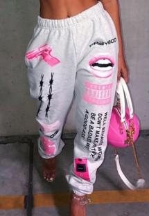 Серые свободные спортивные штаны с осенним принтом