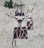 Set di costumi da bagno con stampa estiva in 4 pezzi