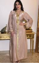 Arab Dubai Arab Middle East Turkey Morocco Islamic Clothing Hooded Kaftan Abaya Embroided Muslim Dress Pink
