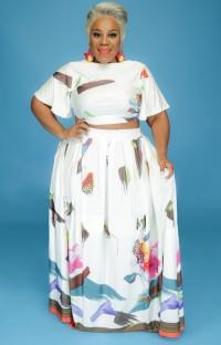 Летний белый укороченный топ с цветочным рисунком больших размеров и длинная юбка Summer