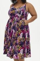 Sommer Plus Size Print Floral High Waist Strap Skaterkleid