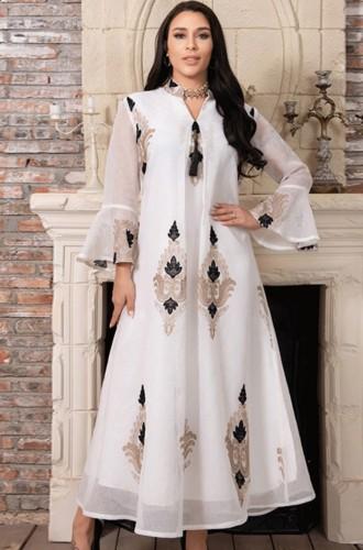 Árabe Dubai Árabe Médio Oriente Turquia Marrocos Vestuário islâmico Kaftan Abaya Vestido muçulmano com capuzArab Dubai Árabe Médio Oriente Turquia Marrocos Vestuário islâmico Kaftan Abaya Vestido muçulmano bordado branco