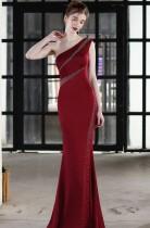 Sommer formales rotes Perlen One-Shoulder-Meerjungfrau-Abendkleid