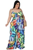 Summer Plus Size Casual Print Strap Loose Jumpsuit