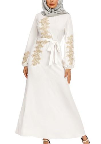 Arabo Dubai Arabo Medio Oriente Turchia Marocco Abbigliamento islamico Strass Caftano Abaya Abito musulmano Bianco