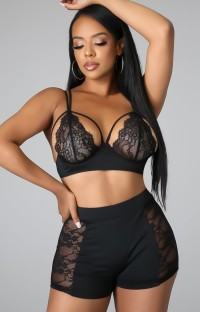 Summer Sexy Black Lace Patch Bra and Shorts Set