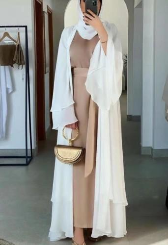 Arab Dubai Arab Medio Oriente Turchia Marocco Abbigliamento islamico Kaftan Abaya Front Open Abito musulmano con Hijab White