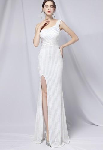 Summer Formal White Sequin One Shoulder Slit Evening Dress