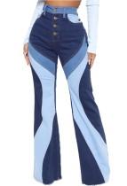 Herbstfarbene Flare-Jeans mit hoher Taille und hohem Bund