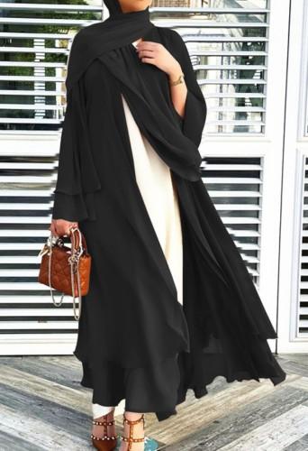 Arab Dubai Arab Medio Oriente Turchia Marocco Abbigliamento islamico Kaftan Abaya Front Open Abito musulmano con Hijab Black