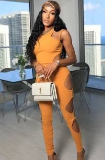 Sommer Sexy Cut Out Orange Ärmelloser Party Overall Party
