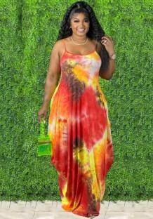 Летнее повседневное длинное платье макси с принтом на бретелях