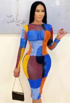 Herbstfarbenes Blockdruck-Party-reizvolles figurbetontes Kleid