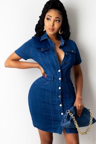 Summer Casual Button Up Dark Blue Denim Bodycon Dress