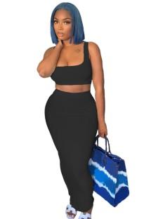 Summer Casual Black Sports Bra and Midi Skirt Set