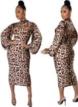 Vestido a media pierna con manga abullonada de leopardo formal de otoño