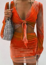Autumn Tie Dye Orange Knotted Crop Top and Ruched Mini Skirt Set