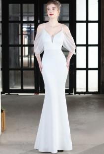 Robe de soirée sirène à bretelles blanches formelles d'été