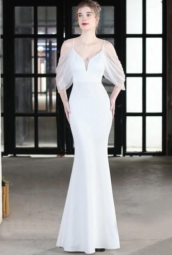 Summer Formal White Strap Mermaid Evening Dress
