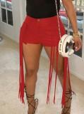Pantaloncini da festa con frange in pelle rossa estiva