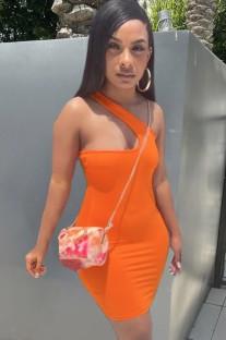 Mini vestido ajustado de un hombro naranja de verano