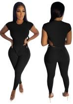 Conjunto de pantalón y top corto ajustado de canalé negro de verano