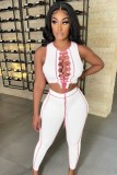 Summer Sexy Lace-Up Crop Top and Pants Set
