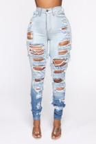 Sommer High Waist Enge Zerrissene Blue Disdressed Jeans