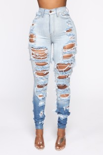 Летние обтягивающие синие рваные джинсы с завышенной талией
