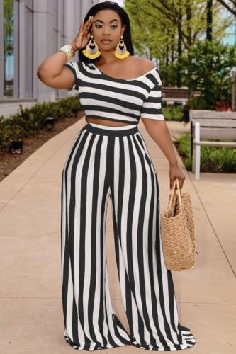 Yazlık Siyah Çizgili Crop Top ve Geniş Paça Pantolon Takım