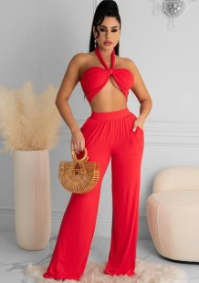 Summer Red Bandeau Top and Wid Leg Pants Set