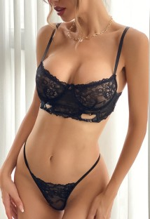 Summer Black Lace Sexy Bra and Panty Lingerie Set