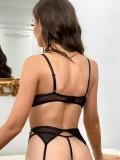 Set di biancheria intima sexy in pizzo nero estivo