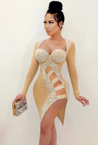 Sonbahar Seksi Bej Boncuklu Düzensiz Parti Elbise Oymalı